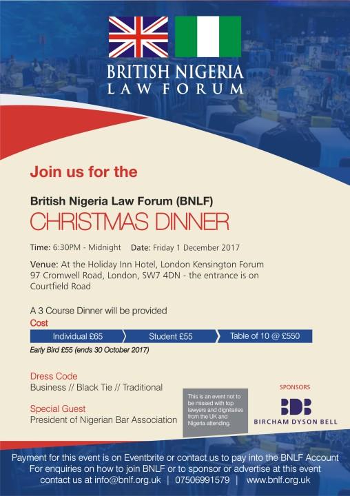 Xmas Dinner 2017- British Nigeria Law Forum